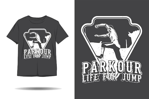 Parkour-leven voor het ontwerp van een jump-silhouett-shirt