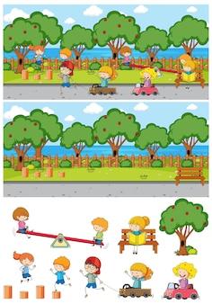 Parkscène ingesteld met veel kinderen doodle stripfiguur geïsoleerd