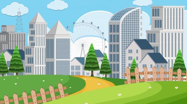 Parkscène met gebouwen