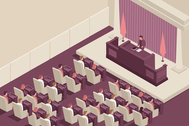 Parlement regering isometrische illustratie