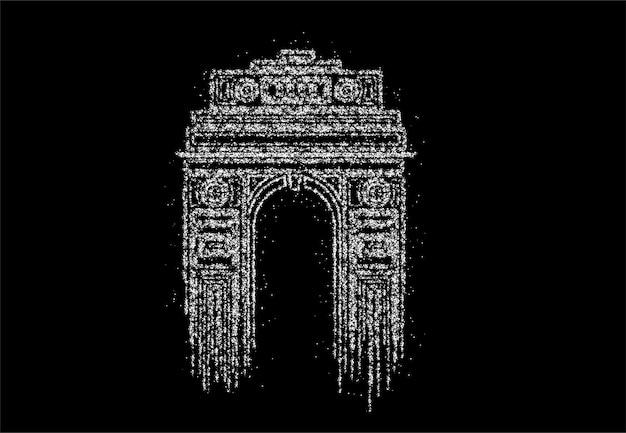 Particle design india gate in new delhi. triomfboog en oorlogsmonument uit de jaren 1920. lijn kunst vectorillustratie.