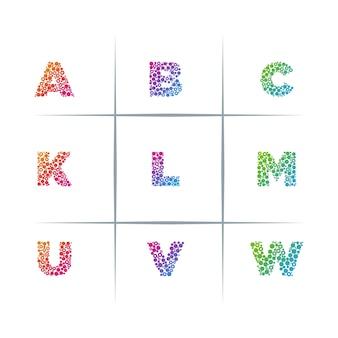 Particle letter logo design set