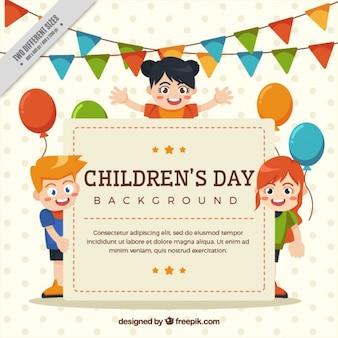 Partij achtergrond met leuke kinderen