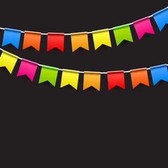 Partij achtergrond met vlaggen vectorillustratie. eps10