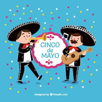 Partij achtergrond van cinco de mayo met mariachis