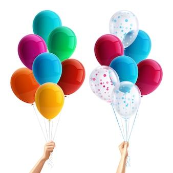 Partij ballonnen in de hand