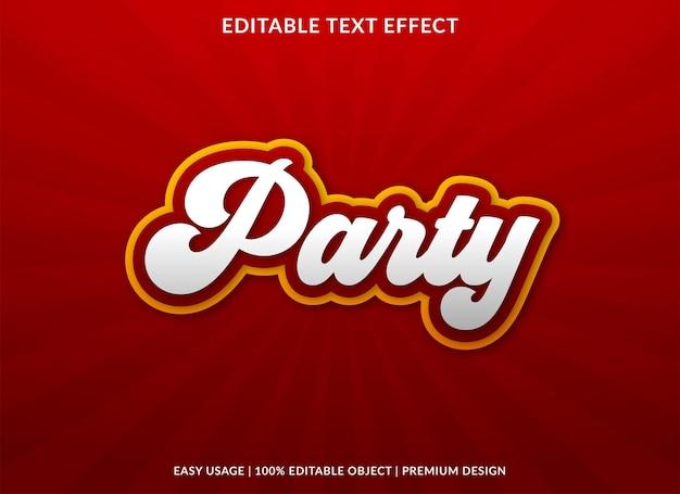 Partij bewerkbare teksteffect sjabloon premium stijl