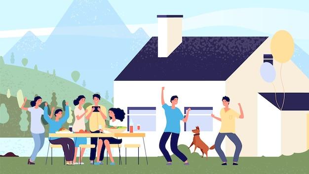 Partij concept. vrienden met plezier in het huis van het meer. platte mensen karakters, bedrijfsfeest. scandinavische hygge levensstijl vectorillustratie. feesttuin, feest bedrijfsvakantie