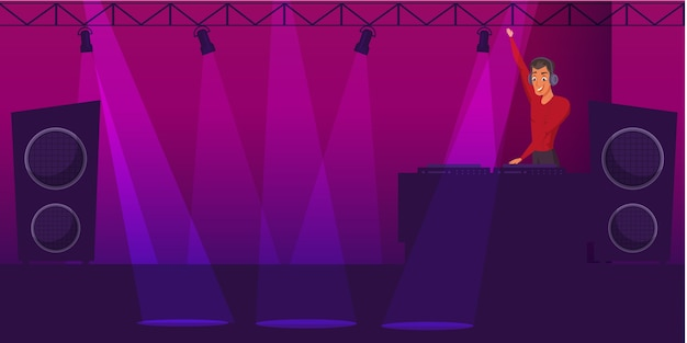 Partij, disco illustratie, nachtclub dj stripfiguur met verlichting, muziekapparatuur.