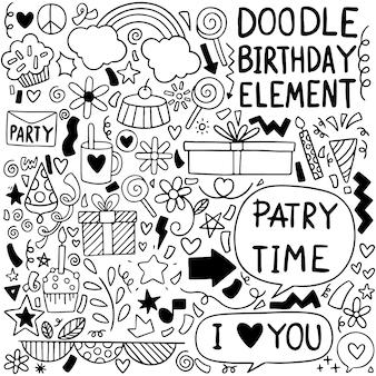 Partij doodle gelukkige verjaardag wenskaart met tekening elementen