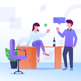 Partij en dronken wijnvrouw en man