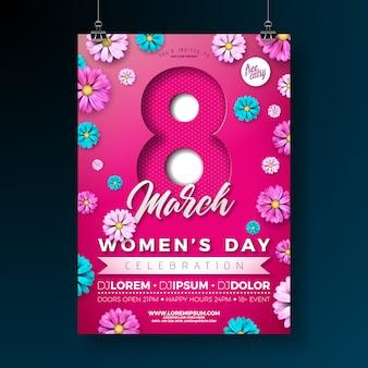 Partij flyer voor dames dag met bloemen op roze achtergrond