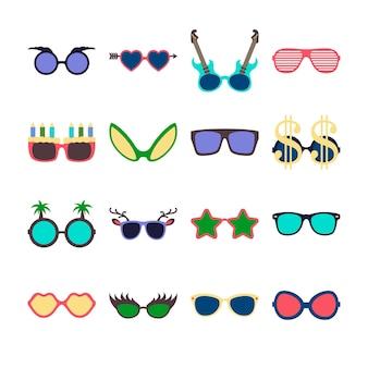 Partij kleurrijke zonnebril pictogrammenset in vlakke stijl geïsoleerd op een witte achtergrond. ontwerp sjablonen. eps10 illustratie.