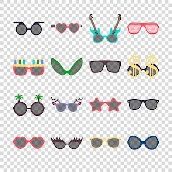 Partij kleurrijke zonnebril pictogrammenset in vlakke stijl geïsoleerd op transparante achtergrond. ontwerp sjablonen. eps10 illustratie.