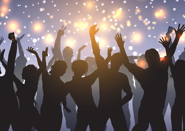 Partij menigte op bokeh lichten achtergrond