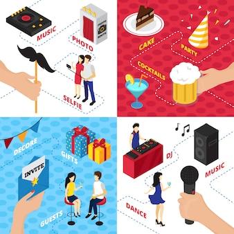 Partij met decoraties geschenkdozen karakter kleding alcohol drankjes audio-uitrusting en mensen