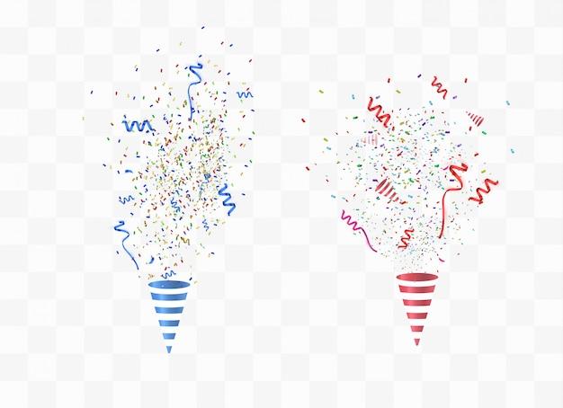 Partij poppers en confetti