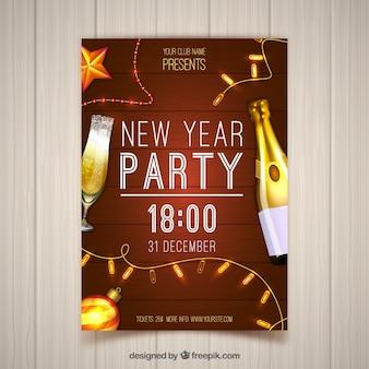 Partij poster met realistische champagnefles
