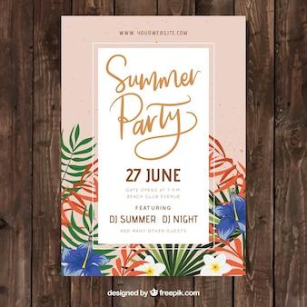 Partij poster met zomerplanten