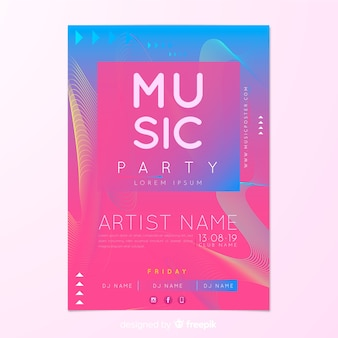 Partij poster sjabloon met abstracte vormen