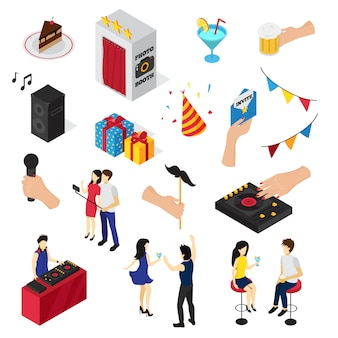 Partij set van pictogrammen mensen tekens decoratie drankjes snoep uitnodigingskaart en audio-apparatuur