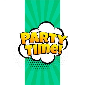 Partij tijd expressie banner in komische stijl