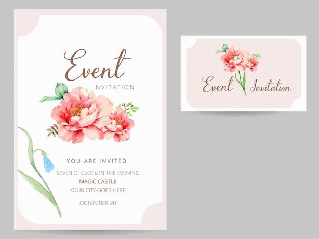 Partij uitnodiging en visitekaartje ontwerp aquarel stijl