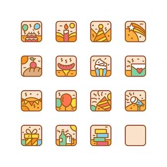 Partij verjaardag pictogram illustratie set vector geïsoleerd