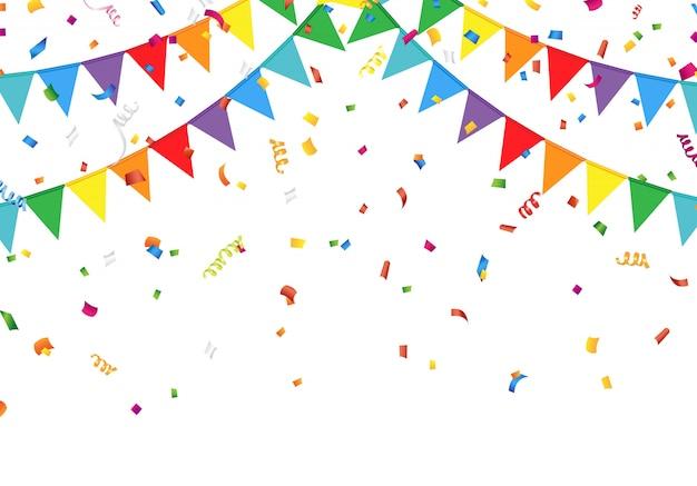 Partij vlaggen met confetti
