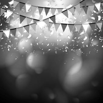 Partij vlaggen vieren abstracte achtergrond met confetti. vector donker ontwerp