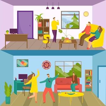 Partij voor vakantie bedrijfsfeest, vectorillustratie. platte gelukkige man vrouw karakter veel plezier set, business group vieren. bedrijfsteam eet pizza, dans in indoor office-concept.