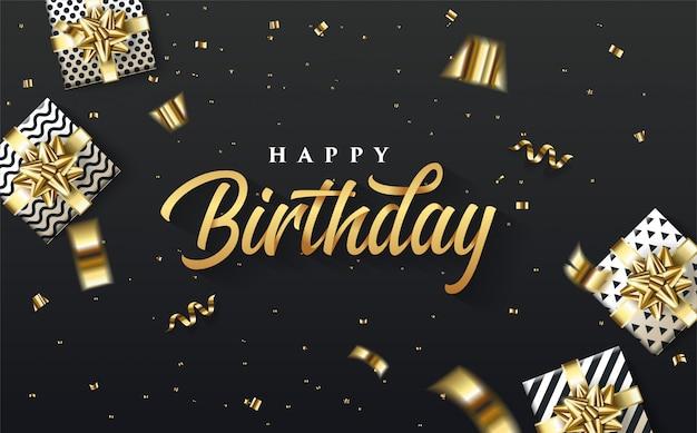 Partijachtergrond met een illustratie van een 3d giftdoos rond het gouden gelukkige verjaardag schrijven.