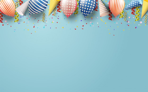 Partijachtergrond met illustraties van ballons