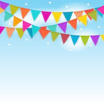 Partijachtergrond met vlaggen vectorillustratie