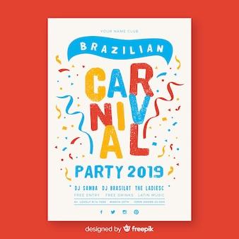 Partijaffiche van confetti de braziliaanse carnaval