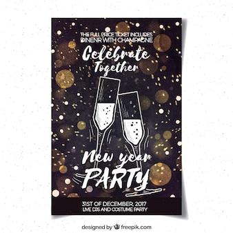 Partijaffiche van het waterverf de nieuwe jaar met champagne