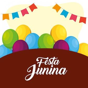 Partijbanner met ballons aan festa junina