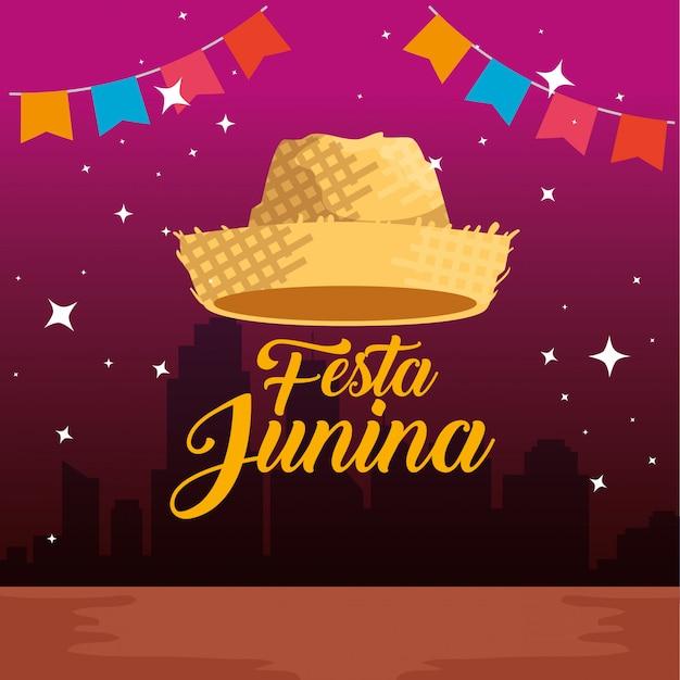 Partijbanner met hoed aan festa junina