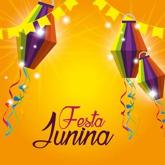 Partijbanner met lantaarns aan festa junina
