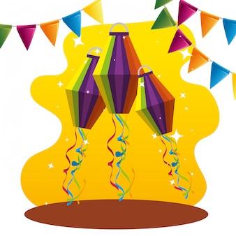Partijbanner met lantaarnsdecoratie aan festival