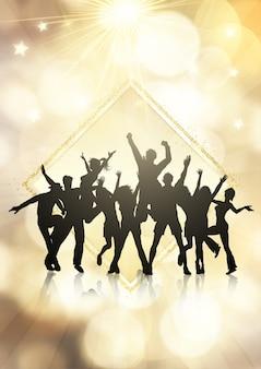 Partijmenigte op een gouden bokeh steekt achtergrond aan