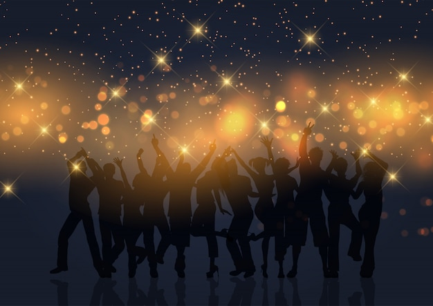 Partijmenigte op gouden bokehlichten en sterren