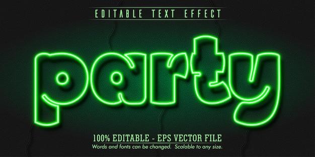 Partijtekst, bewerkbaar teksteffect in neonstijl
