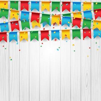 Partijvieringsvlag op witte houten achtergrond