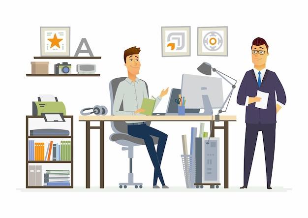 Partner vergadering moderne vector cartoon zakelijke karakters illustratie