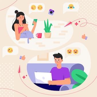 Partners chatten lange afstand relatieshop