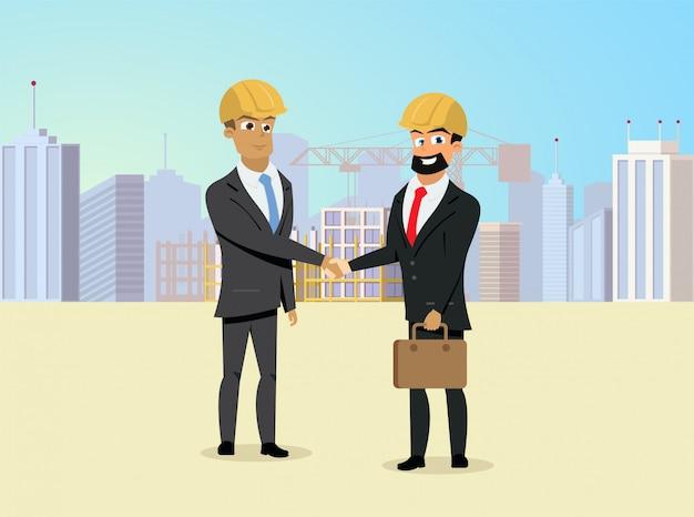 Partners handshaking op bouwwerfvector