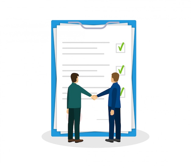 Partners schudden elkaar de hand. documentpapieren. overeenkomst en contract. plat ontwerp.