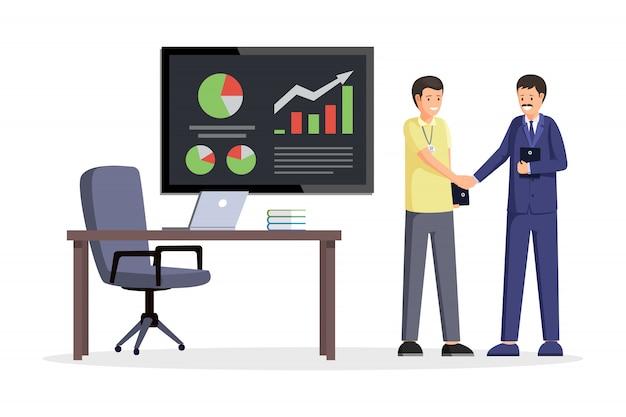 Partners schudden handen illustratie. kantoor interieur met bureau, stoel, laptop en bord met grafieken. onderhandelingen over bedrijfsstrategieën, overeenkomst, zakenlieden succesvol partnerschap