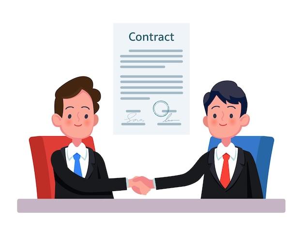 Partners stevig de hand schudden na ondertekening contractovereenkomst sluiten deal.
